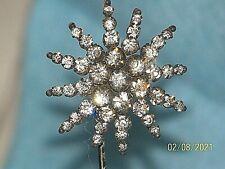 Antique Rhinestone Starburst Hat Pin Stick Pin Wobbler Bobber Spring Neck