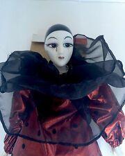 Vintage Porcelain Doll Harlequin in Red Montgomery Ward