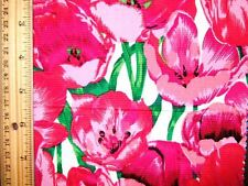LARGE CERISE POPPIES ON WHITE BACKGROUND - 100% COTTON FABRIC FQ'S