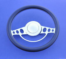 55 56 57 Chevy Impala Style Leather & Chrome Steering Wheel