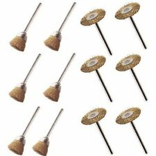 """New Pack of 12 7/8"""" Brass Wire Wheel + Cup Brushes Combo *Us Fast Free Shipping*"""