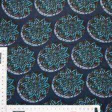 Trendstoff: Blau Türkis Weiß Gemustert mit Bordüre Viskose Swafing Kleiderstoff