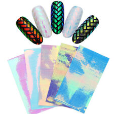 Holographic AB Color Hollow Nail Art 3D Stickers Stripe Round Manicure Decal DIY
