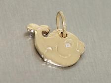 Kleiner Fisch - Anhänger Gold 585 massiv mit Diamant - Goldfisch - Goldanhänger