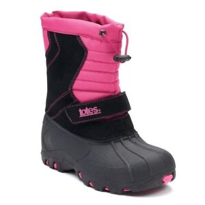 Totes Josie Toddler Girls' Winter Boots Size 4- Waterproof-Pink/Black