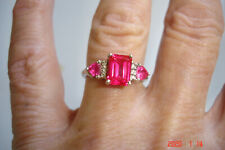 Vintage Hallmarked Emerald Cut Pinkish Ruby With Smaller Side Rubies Ring
