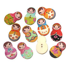 Pack of 10 Wood Buttons. Russian Doll Design 30 x 19mm Sewing Art