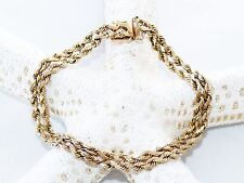 """New 14K Yellow Gold 7.5"""" Bracelet 13.05 Grams 8mm 2 Double Row Rope Chain Nice"""