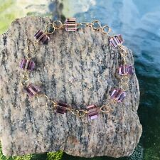 Amethyst Crystal Cube and Gold Wire Wrapped Bracelet by CurlanceCreations