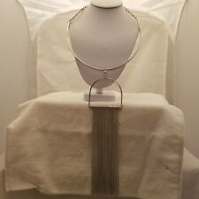 Silver Collar Necklace With Long Fringe