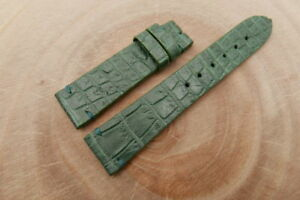 21mm/18mm Green Genuine CROCODILE, ALLIGATOR Skin Leather Watch Strap Band