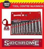 SIDCHROME SCMT22298 12pce PRO SERIES RATCHET RING & OPEN END METRIC SPANNER SET