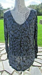 NWT Womens Sz S Free People blue/black linen Rayon blend long sleeve blouse top