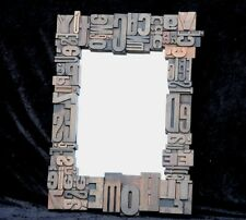 Wall MIRROR collage old letterpress printing blocks composition letters ABC ..