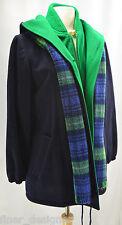 Mackintosh Vestcoat VTG Dark Blue Green Wool Vest Coat Size 8 Hooded plaid Scarf