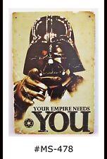 New ListingTin Sign Man Cave Empire Star Wars Movies Metal Retro Distressed Signs Plaques