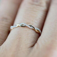 Fashion Jewelry Women Silver Rose Gold Stack Twisted Ring Wedding Party Gift
