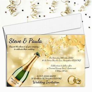 10 Personalised Champagne Wedding Invitations / Evening Invites & Envelopes N68