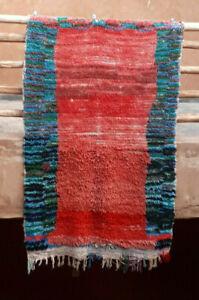 Vintage wool boucherouite rag rug  187 x 117 cm