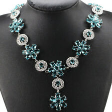 Hi End S/ Silver Aquamarine & CZ Accent Necklace Weimaraner Rescue Charity