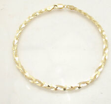 "7"" Triple Braided Fox Tail Herringbone Chain Bracelet Real Solid 10K Yellow Gold"