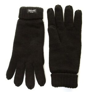 Mens Thinsulate Thermal Fleece Lined Knitted Black Winter Gloves One Size