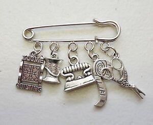 I Love Quilting Scissors Reel Needle Iron Measuring Tape Brooch Kilt Pin Craft