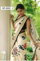 Designer Saree Pakistani Bollywood Indian Sari traditional FLOWER blouse BF 3