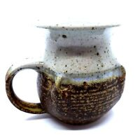 Handthrown Pottery Stoneware Brown Blue Coffee Tea Cup Mug Pinched