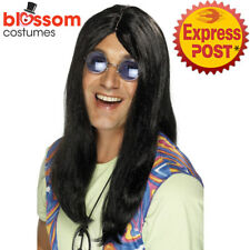 W458 Black Neil 1960s Hippy Hippie Wig 60s 70s Groovy Wigs Costume Accessories