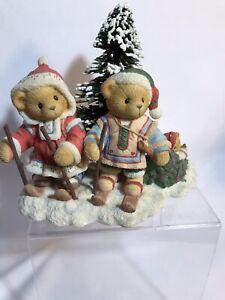 Sweet Cherished Teddies Segrid Justaf Ingmar Skiers Dragging Tree original box