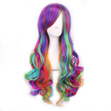 Mixed Color Rainbow harajuku long curly wigs synthetic Anime cosplay wig lolita