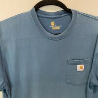 Carhartt Mens Size Large Navy Blue Short Sleeve T shirt with Pocket Original Fit