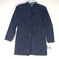 Anne Klein Topper Coat Long Jacket Women's US 4 Blue Black Button MSRP $169