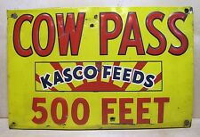 Orig 1950s KASCO FEEDS COW PASS Sign embossed tin metal wood mnt farm feed seed