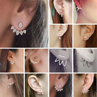 Stylish Crystal Flower Ear Jacket Earring Gold Silver Back Cuff Stud Jewelry