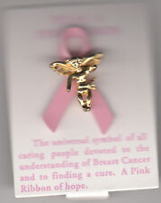 """Breast Cancer Guardian Angel Tac Pin With Pink Ribbon, Pink,  1"""", Brand New"""