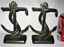 Antique Mass Usa Boogar Jr Sea Anchor Whale Bronze Art Statue Sculpture Bookends