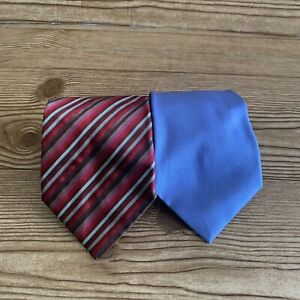 Set of 2 Banana Republic Ties Solid Blue Striped Red Silk Made in Italy Classic