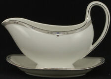 Wedgwood Amherst Platinum Trim Gravy Boat and Attached Underplate