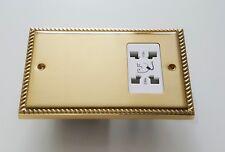 SCHNEIDER GEP7590BGB Shaver Socket Georgian Rope Brass GOLD Interior  2G115/230V