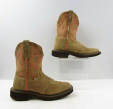 Ladies Justin Brown Suede Leather Square Toe Cowboy Western Boots Size: 6 B