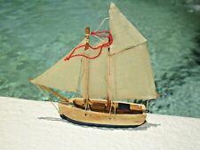 "Vintage Sail Boat Ship White Blue Christmas Tree Holiday Ornament Wood 4"""