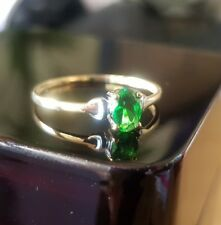 9ct Yellow Gold and white gold oval emerald ring free postage gift idea size Q
