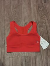Calvin Klein Womens Red CK Logo Bralette Sports Bra Size Medium
