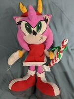 "Rare Sonic The Hedgehog Big 16"" AMY ROSE Christmas Cane Plush Doll TOY NETWORK"