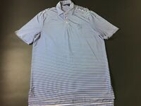 RLX Ralph Lauren Mens Blue White Striped Short Sleeve Polo Shirt Size Large