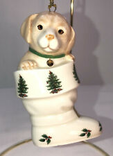 Spode Christmas Tree Puppy in Stocking Celebrating Tradition Ceramic Ornament