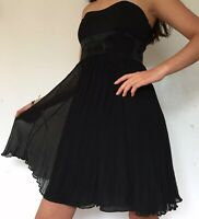 Karen Millen Black 100% Silk Dress Knee Length Strapless Bow Swishy Size 10