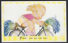 """Mabel Lucie Attwell - """" Phew ! All for You ! """" Girl on Bicycle."""